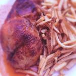 Incredible baked chicken and frites at Bistrot Margot