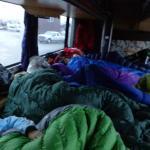 sleeping arrangements..rear of bus
