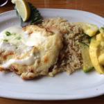 Tilapia Crab au Gratin with Rice and Veggies