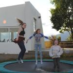 Fun on trampolin for families