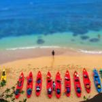 Kayaks on Hideaways Beach, North Shore, Kauai