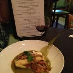 Tamale with wine and menu