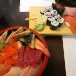 Chirashi-zushi on left, nigiri assortment on right