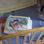 crib with crayon and colouring picture