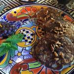 Blue corn pinon pancakes with toasted pinons (pine nuts) on top - so good we requested them twic