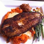 Blackened Catfish with Maple Carrot Puree, Hush Puppies, and Creole Sauce