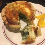 Spinach, artichoke, and feta quiche