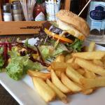 "Interlaken - Husi Bierhaus - Vegi (vegetarian) Burger with ""Arkina"" mineral water"
