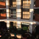 This is the atrium area where breakfast is served it includes a hot complimentary  breakfast wit