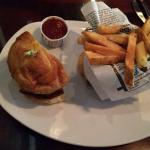 Half of The Carolina Burger with truffle fries- such a cute presentation!