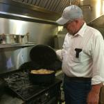 Mac cooking up a storm at the Pie Dump