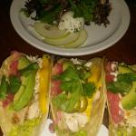 Salad and fish tacos!