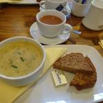 cream of celery soup and brown bread and tea