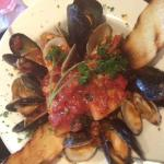 Black Grouper Special with Mussels, Clams and Shrimp over Pasta