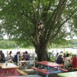 Outdoor seating along the Conn. River