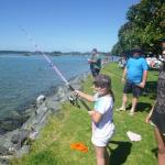 Fishing off our waterfront edge