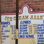 Ice Cream Alley sign with some of the prices