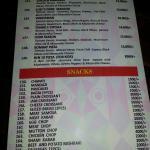 menu selections