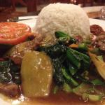 Spring onion and beef with rice. Fair.