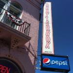 Chatterbox sign & distinctive pink building