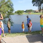 Some Camp Cullin dads and kids fishing at the paddle boat pond!