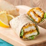 Light meal -- Fish Wrap with Garlic mayo, Sweet Chilli or Hot Chilli