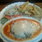 Lasagne chips salad, chicken curry rice