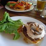 Burger with crab/horseradish/cream cheese & mushrooms