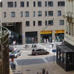 View of shops from hotel balcony