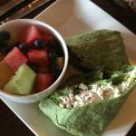 Fruit cup and chicken salad wrap