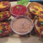 Potato Skins (that were loaded) $ 5.50 came with a couple dipping sauces