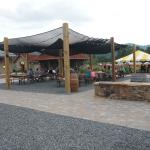 One of the many outdoor seating areas