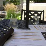 Wonderful seating area outside and menu
