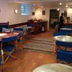 dining area in the basement of Inn - nautical theme