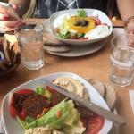 Hummus and falafel salad and Greek salad