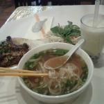 Jasmine bubble tea and pork pho