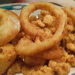 Fried Scallops, Clam Strips, Onion Rings