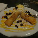 Star Anise dessert - fried banana rolls with ice cream