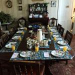 Breakfast Table setting with Orange Juice, Fresh Coffee and Tea.