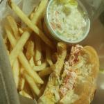 Lobster Roll, comes with very tiny coleslaw portion, and a solid amount of french fries.