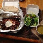 Beef Shawarma Platter comes with a House Salad and a Vegan Lentil Soup