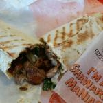 Chicken Shawarma Wrap cut in half