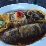 Vegetarian enchiladas with mole