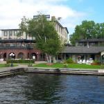 Gananoque Inn from the boat dock, showing open-air restaurant patio on 2nd level