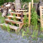 Woodpile at entrance