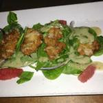 Fried Oyster and Spinach Salad