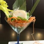 Sashimi in a lighted martini glass -Wow!