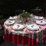 Our charming luncheon table set with local linens and accessories