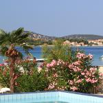 Looking towards the beach from the pool of Duje Hotel