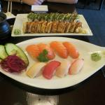 Caterpillar and No Name rolls, salmon sushi, and sushi sampler